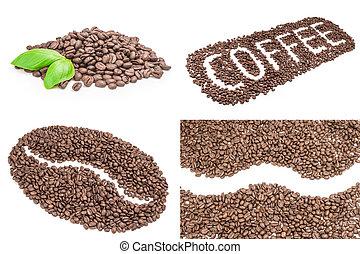 brun, café, collage, coupure, haricots, fond, sentier, blanc