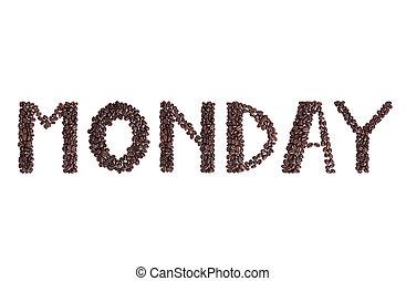 brun, café, fait, lundi, texte, haricots, frais