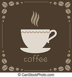 brun, café, fond, signe
