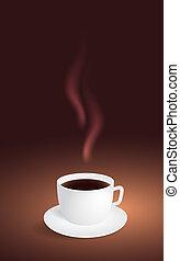 brun, café, fond, tasse