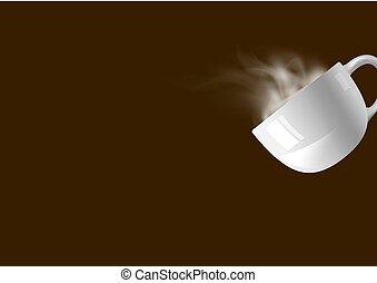 brun, café, fumée, tasse, illustration, vecteur, fond