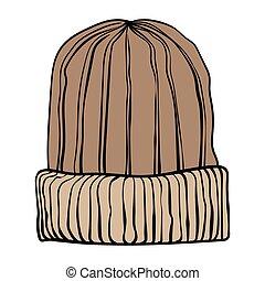 brun, café, hiver, range., illustration, tricoté, vecteur, hat.