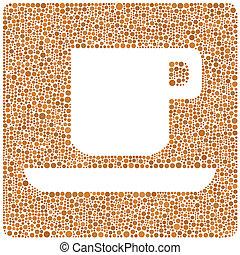brun, café, icône