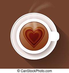 brun, café, isolé, fond, tasse