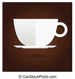 brun, café, vecteur, fond, tasse