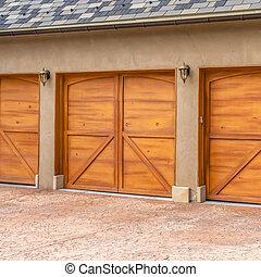 brun, carrée, extérieur, maison bois, cadre, luxueux, portes garage, élégant