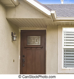 brun, carrée, porte, béton, maison, pattes, verre, paned, façade, escalier