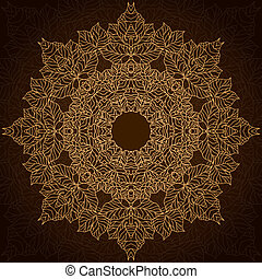 brun, cercle, ornement, dentelle, or