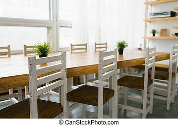 brun, chaises, salle manger, ou, cuisine, style, siège, blanc, scandinave