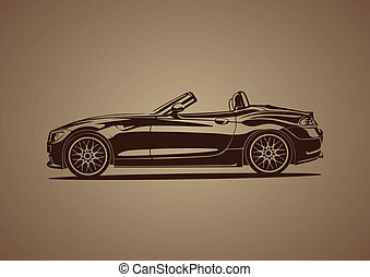 brun, chaud, sport, voiture