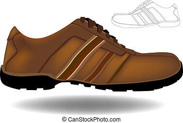brun, chaussure
