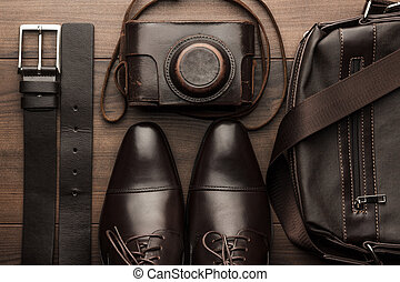 brun, chaussures, sac, appareil photo, ceinture, pellicule