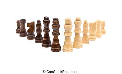 brun, chesses, haut, arrière-plan noir, ligne, blanc