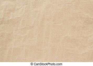 brun, chiffonné, lumière, texture, papier, fond, ou
