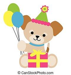 brun, chiot, anniversaire