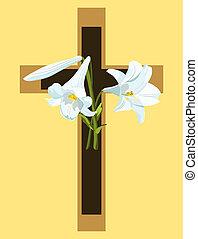 brun, chrétien, lilies., croix, beige, paques