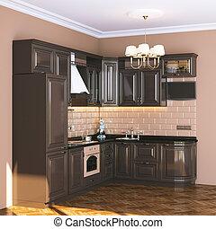 brun, classique, cuisine, dans, beige, intérieur