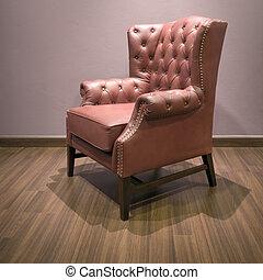 brun, classique, fauteuil cuir, luxe, chesterfield, côté