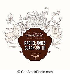 brun, classique, vendange, cadre, mariage, chocolat, vecteur, texte, retro, invitation, floral, élégant, fleurs, dessin, design.