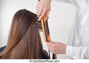 brun, client's, styliste coiffure, fonctionnement, hair.