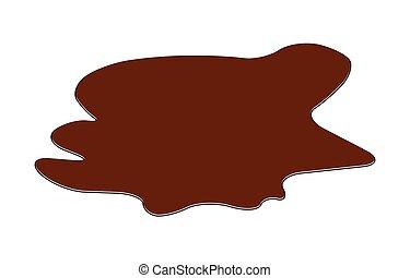 brun, clipart., drop., renverser, flaque, isolé, plash, boue, vecteur, chocolat, illustration, fond, tache, blanc