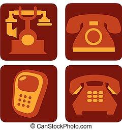 brun, collection, quatre, téléphone, vecteur, -1, fond