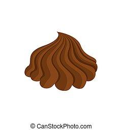 brun, confiserie, doux, chocolat, curl., tourbillon, swirl., crème fouettée