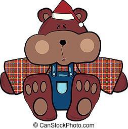 brun, couleur, grisonnant, illustration, vecteur, ours, ou