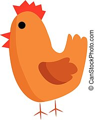 brun, couleur, illustration, vecteur, poulet, ou