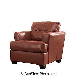 brun, coupure, classique, fauteuil cuir, isolé, fond, blanc, path.