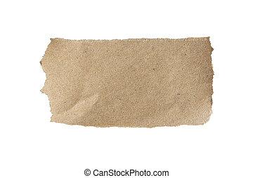 brun, coupure, déchiré, isolé, papier, blanc, path.