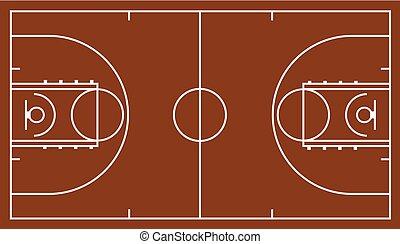 brun, cour basket-ball
