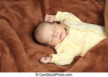 brun, couverture, dormir, nouveau-né, doux