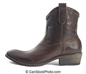 brun, cow-boy, cuir, botte, isolé, blanc