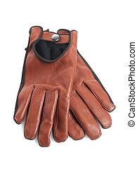 brun, cuir, gants
