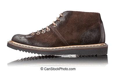 brun, cuir, isolé, bottes, blanc mâle