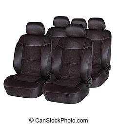 brun, cuir, voiture, isolé, sièges, blanc