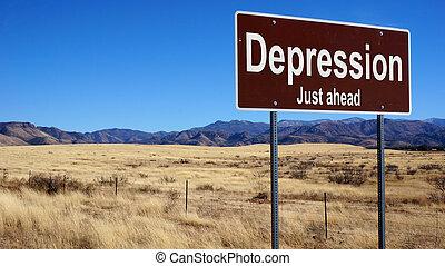 brun, dépression, panneaux signalisations