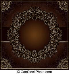 brun, dentelle, ornement, élégant, fond, rond