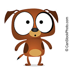 brun, dessin animé, chien