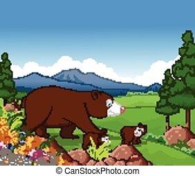 brun, dessin animé, ours