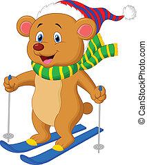 brun, dessin animé, ours, ski