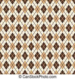 brun, diamanten mönstrar, -, ändlös