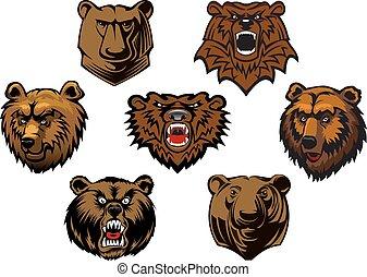 brun, différent, têtes, ours