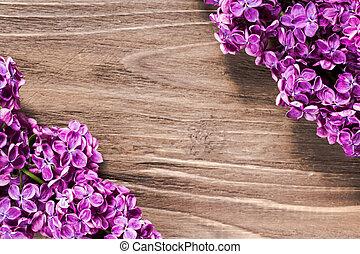 brun, droit, gauche, lilas, bois, photo, haut, bas, concentré, coins, dièse, fleurs, surface., gentil