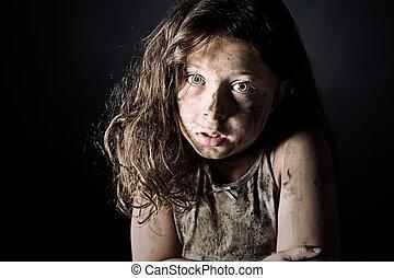 brun, effrayé, enfant, dégoûtant, chevelure