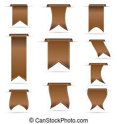 brun, ensemble, eps10, pendre, courbé, bannières, ruban