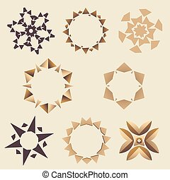 brun, ensemble, ornement, elementory