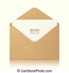 brun, enveloppe, isolé, vecteur, fond, kraft