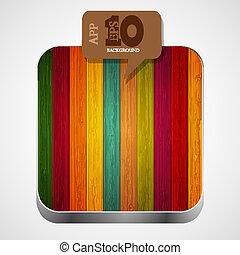 brun, eps10, coloré, bois, app, vecteur, icône, bulle, speech.